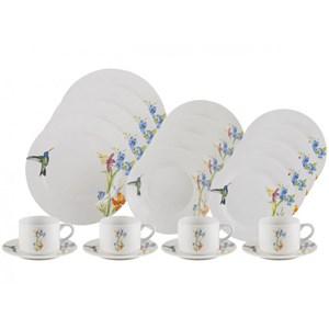 Aparelho de Jantar e Chá 20 Peças Porcelana Beija Flor Lyor
