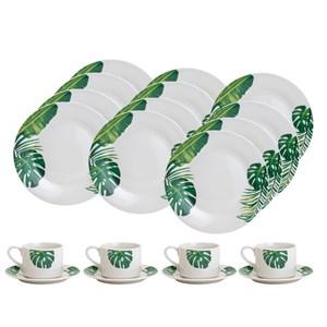 Aparelho de Jantar e Chá 20 Peças Porcelana Tropical Lyor