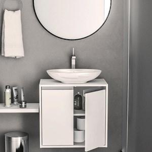 Armário de Banheiro Una 2 Portas Preto/Azul Vel - Politorno