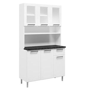 Armário de Cozinha Aço 6 Portas 3 Vidros 1 Gaveta Múltipla Branco - Bertolini