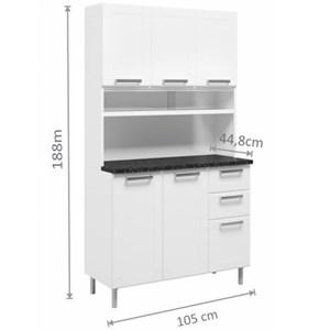 Armário de Cozinha Múltipla triplo com 6 portas Branco - Bertolini