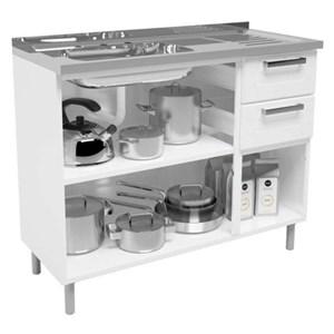 Balcão de Cozinha com Pia 3 Portas e 2 Gavetas Múltipla Branco - Bertolini