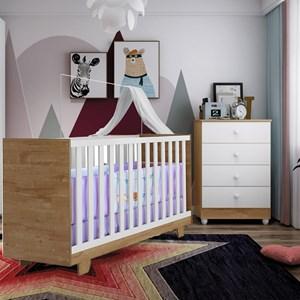 Berço Mini cama Life + Cômoda Soft Life 4 Gavetas Branca E Naturale Tigus Baby