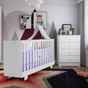 Berço Mini cama Life + Cômoda Soft Life 4 Gavetas Branco Tigus Baby