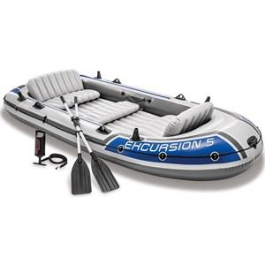 Bote Barco Inflavel Excursion 5 Com Remos Alumínio - Intex