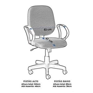 Cadeira Escritório Giratória Diretor com Braço Digitador Azul