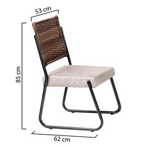 Conjunto 2 Cadeiras Aço MD12 Mais Acessórios Grafite Soft One/Linho Claro