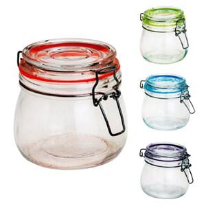 Conjunto 4 Potes herméticos vidro Cancun Color Sortido 520ml 11x10cm Lyor