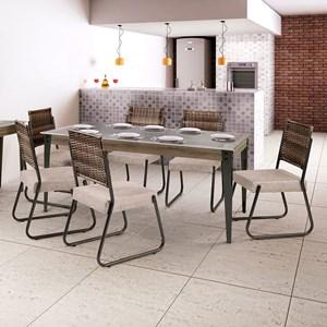 Conjunto Mesa Tampo de Vidro e 6 Cadeiras MD12 Mais Acessórios Grafite/Linho Marrom/Sienna