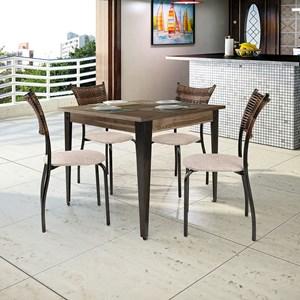 Conjunto Mesa Tampo MDF e 4 cadeiras MD05 Mais Acessórios Grafite/Linho Claro/Mocacino