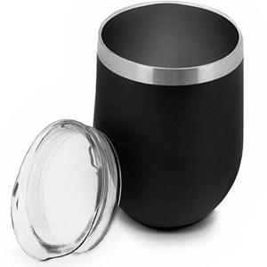 Copo Térmico Inox Parede Dupla Preto 350ml Tampa Anti Vedação Mimo Style
