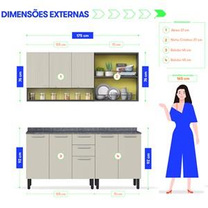 Cozinha Completa em Aço Itatiaia Midi Pop Art  7 Portas Grafite/Off White/Amarelo Claro