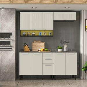 Cozinha Completa em Aço Itatiaia Midi Pop ART 9 portas Grafite/Off White/Amarelo Claro