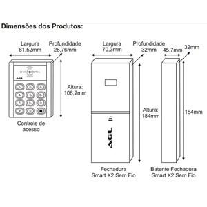 Fechadura Digital Senha e Cartão Sem Fio Smart X2 AGL
