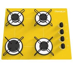 Fogão Cooktop 4 Bocas Amarelo + Forno De Eletrico 60 Litros
