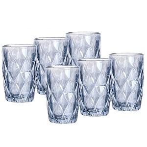 Jogo 6 Copos De Vidro Diamond Azul Metalizado Lyor