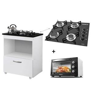 Kit Cozinha C/Balcão Cooktop 1 Porta BR C/Forno Elétrico 48 L 110V PT/BR C/Fogão Cooktop 4 bocas PT