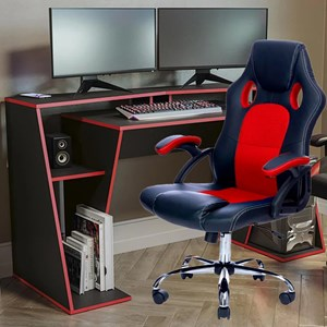 Kit Mesa Gamer + Cadeira Gamer Vermelha Giratória Cromada Kappesberg