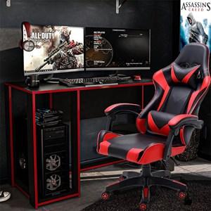Kit Mesa Gamer Singapura e Cadeira Gamer Giratória Reclinável Politorno