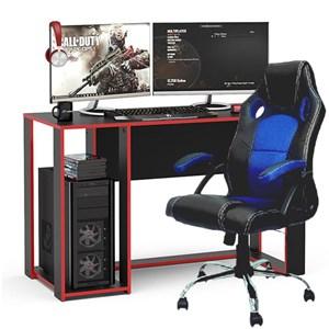 Kit Mesa Gamer Singapura Preto/Vermelho e Cadeira Gamer Base Cromada Giratória Politorno