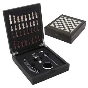 Kit para Vinho com Jogo de Xadrez - Mimo Style