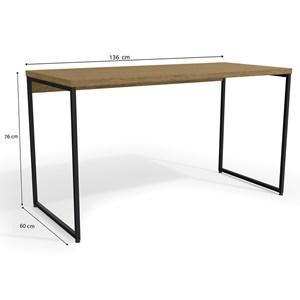 Mesa Para Escritório Diretor Estilo Industrial 1,36m Frejo Com 1 Gaveta Kapesberg